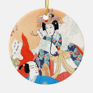 Thirty-six Kabuki Actors Portraits - Two Dancers Christmas Ornament