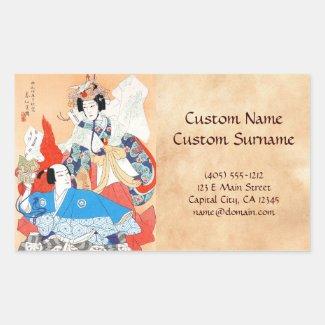 Thirty-six Kabuki Actors Portraits - Two Dancers Rectangular Stickers