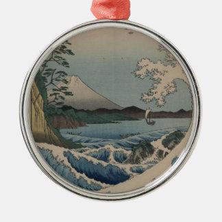 Thirty-six Views of Mount Fuji  富士三十六景,  Hiroshige Metal Ornament