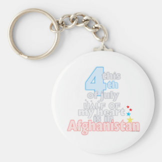 This 4th...heart is in Afghanistan Basic Round Button Keychain
