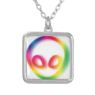 This Alien isn't Gray - its Hip ! Silver Plated Necklace