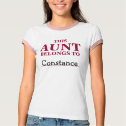 Ladies Ringer T-Shirt with Customizable Aunt Belongs To design