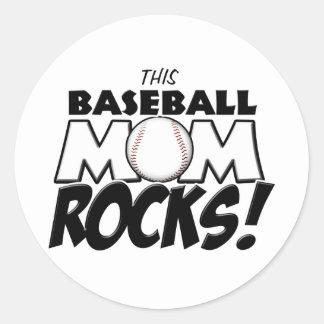 This Baseball Mom Rocks copy.png Classic Round Sticker