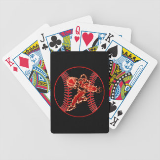 This baseball player is on fire bicycle playing cards