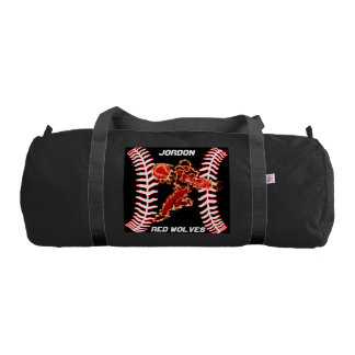 This baseball player is on fire gym duffel bag
