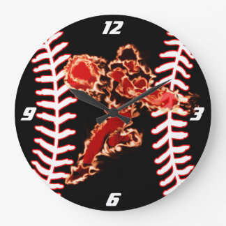 This baseball player is on fire large clock
