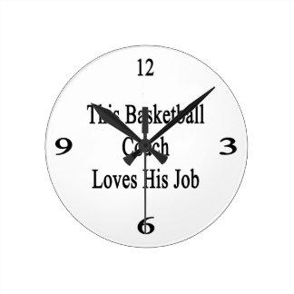 This Basketball Coach Loves His Job Round Wall Clocks
