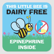 This Bee is Dairy Free Epi Alert Stickers