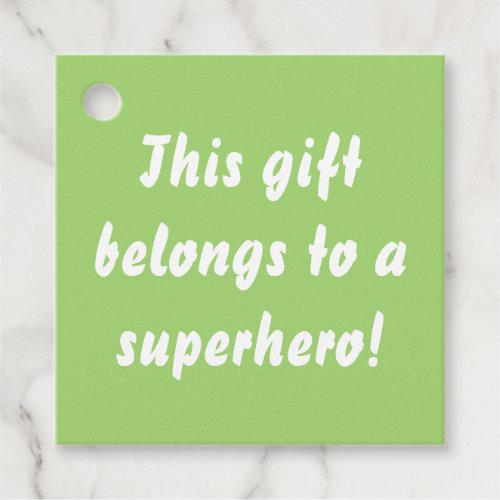 This Belongs To A Superhero Chartreuse Green Favor Tags