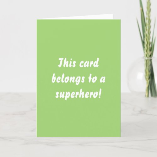 This Belongs To A Superhero Chartreuse Green Thank You Card