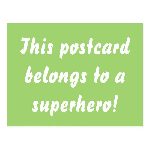 This Belongs To A Superhero Green & Gold Postcard