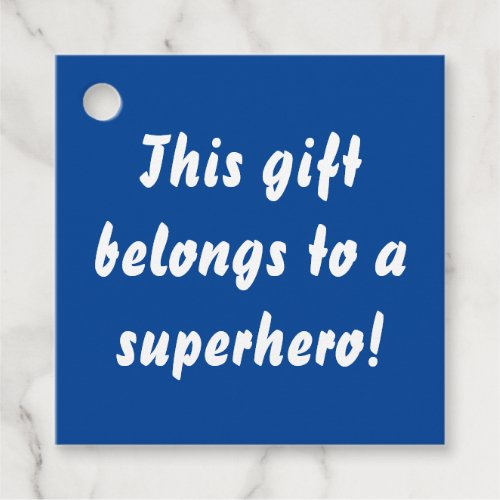This Belongs To A Superhero Navy Blue Favor Tags