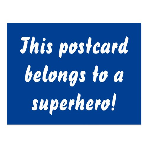 This Belongs To A Superhero Navy Blue & Gold Postcard