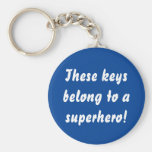 This Belongs To A Superhero Navy Blue Keychain