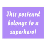 This Belongs To A Superhero Purple & Gold Postcard