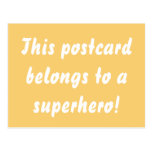 This Belongs To A Superhero Sunny Yellow & Gold Postcard