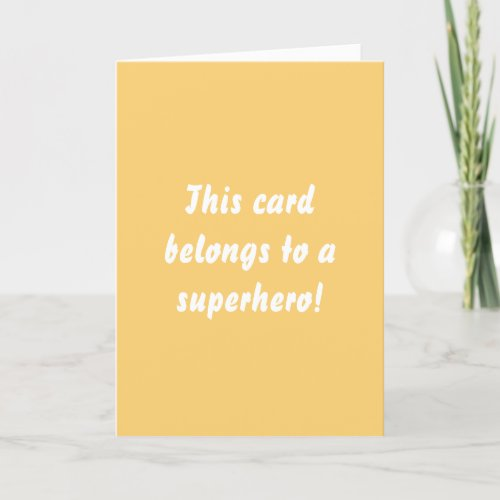 This Belongs To A Superhero Sunny Yellow Thank You Card