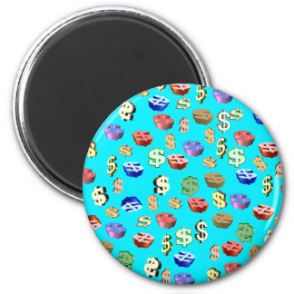 This Blue $ Signs 2 Inch Round Magnet