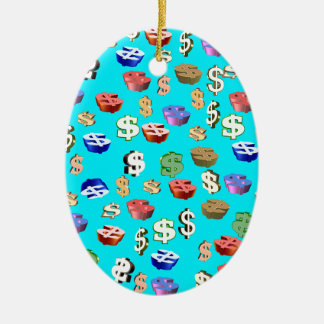 This Blue $ Signs Ceramic Ornament