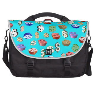 This Blue $ Signs Laptop Commuter Bag