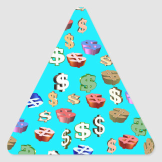 This Blue $ Signs Triangle Sticker