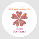 """""""This book belongs to"""" blooming heart bookplate Classic Round Sticker"""