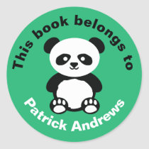 This Book Belongs To Boys Panda Bear Kawaii Green Classic Round Sticker