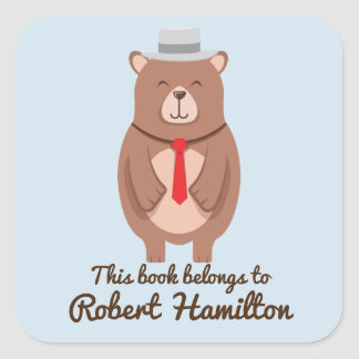 THIS BOOK BELONGS TO BROWN BEAR RED TIE SQUARE STICKER