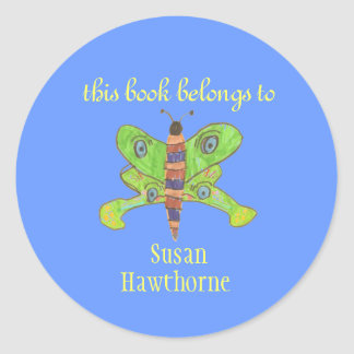 """""""This book belongs to"""" butterfly bookplate Classic Round Sticker"""