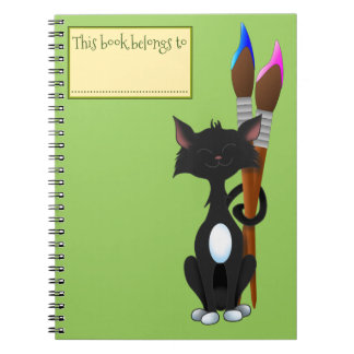 This Book belongs To, Cat and Paint Brushes, Green Notebook