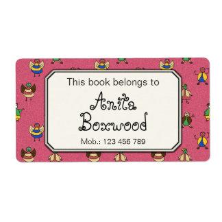 This Book Belongs To Custom Girl Name Stick People Label