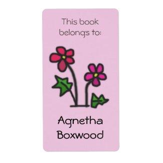 This Book Belongs To Custom Name Red Flowers