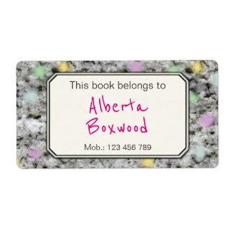 This Book Belongs To Custom Name Rock Texture Label