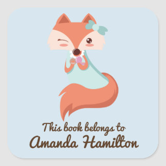 THIS BOOK BELONGS TO CUTE FOX WITH BLUE BOW SQUARE STICKER