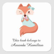 This book belongs to Cute Funny Little Fox Square Sticker