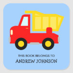 """This book belongs to dumptruck book label stickers<br><div class=""""desc"""">This book belongs to dumptruck book label stickers. Toy construction vehicle name tag stickers. Personalized school supplies for little boys and girls. Cute red dump truck illustration with personalizable kids name. Childrens vector design in primary colors. Available in square and round shape. Custom back to school supplies for child, parents,...</div>"""
