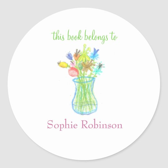 """This book belongs to"" floral bookplate sticker"