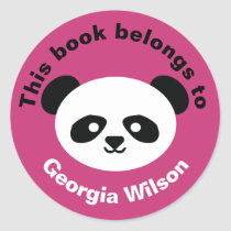 This Book Belongs To Girls Panda Bear Kawaii Pink Classic Round Sticker
