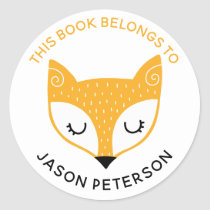 This Book Belongs To Kids Cute Woodland Fox Classic Round Sticker
