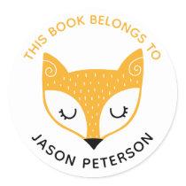 This Book Belongs To Kids Cute Woodland Fox Classic Round Sticker