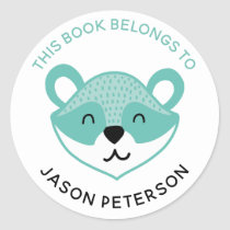 This Book Belongs To Kids Cute Woodland Raccoon Classic Round Sticker