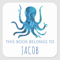 This Book Belongs To Kids Octopus Nautical Blue Square Sticker