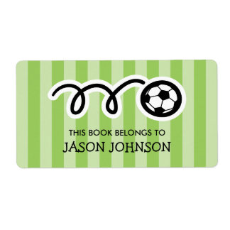 This book belongs to kids soccer bookplate labels