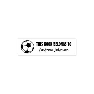 THIS BOOK BELONGS TO kids soccer self inking stamp