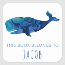 This Book Belongs To Kids Whale Nautical Blue Square Sticker