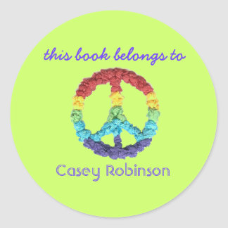 """""""This book belongs to"""" peace sign bookplate Classic Round Sticker"""