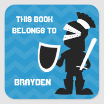 This Book Belongs To Personalized Blue Knight Boys Square Sticker