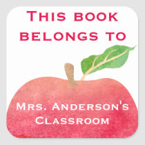 This Book Belongs To Personalized Classroom Apple Square Sticker