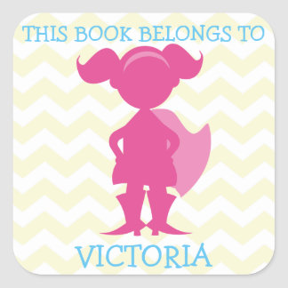 This Book Belongs To Personalized Girl Superhero Square Sticker