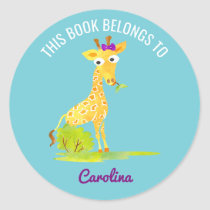 This Book Belongs To Personalized Kids Giraffe Classic Round Sticker